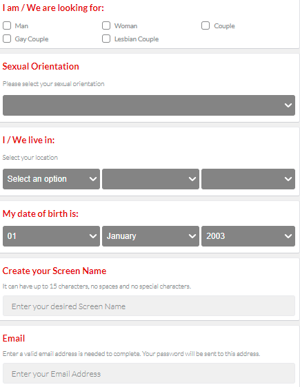 registration process on Easysex